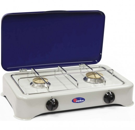 Parker 2 burners gas stove for outdoor use mod. 5326 GB. Color: Grey/Blue added to your basket